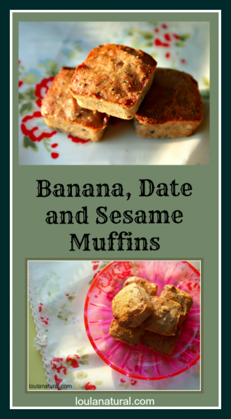 Banana Date and Sesame Muffins Loula Natural pin